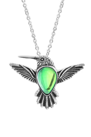 Sterling Silver-Hummingbird Pendant-Necklace Charm-Green-Polished-Leightworks