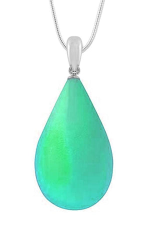 Sterling Silver-Large Drop Pendant-Necklace Charm-Green-Frosted-Leightworks
