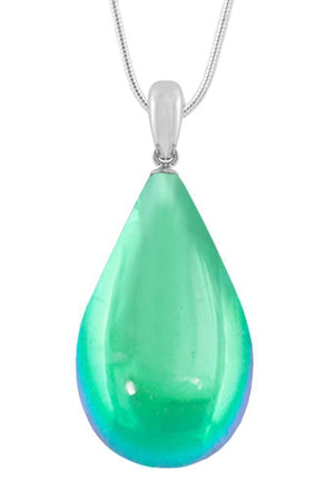 Sterling Silver-Large Drop Pendant-Necklace Charm-Green-Polished-Leightworks