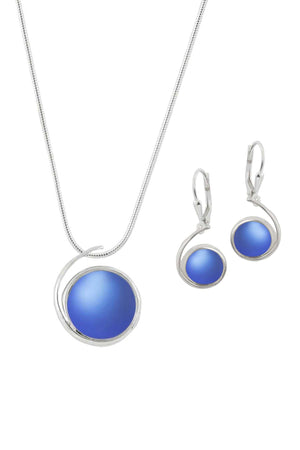 Sterling Silver-Large Wave pendant & Wave earrings set-blue-frosted-Leightworks