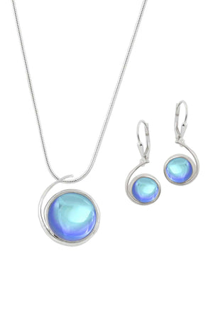Sterling Silver-Large Wave pendant & Wave earrings set-blue-polished-Leightworks