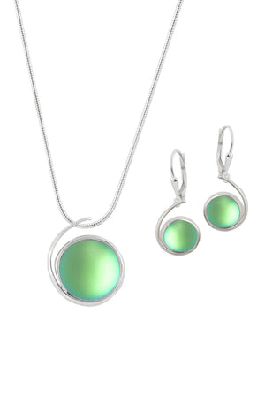 Sterling Silver-Large Wave pendant & Wave earrings set-green-frosted-Leightworks
