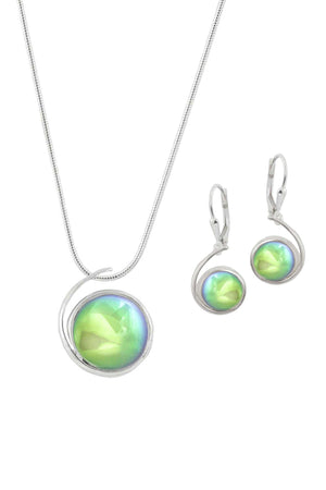 Sterling Silver-Large Wave pendant & Wave earrings set-green-polished-Leightworks