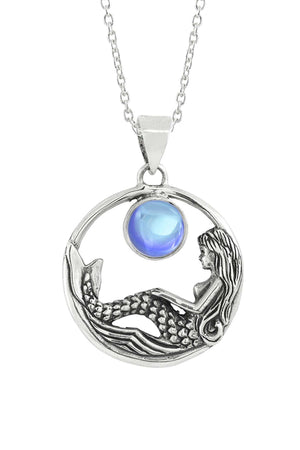 Sterling Silver-Mermaid Pendant-Necklace Charm-Blue-Polished-Leightworks