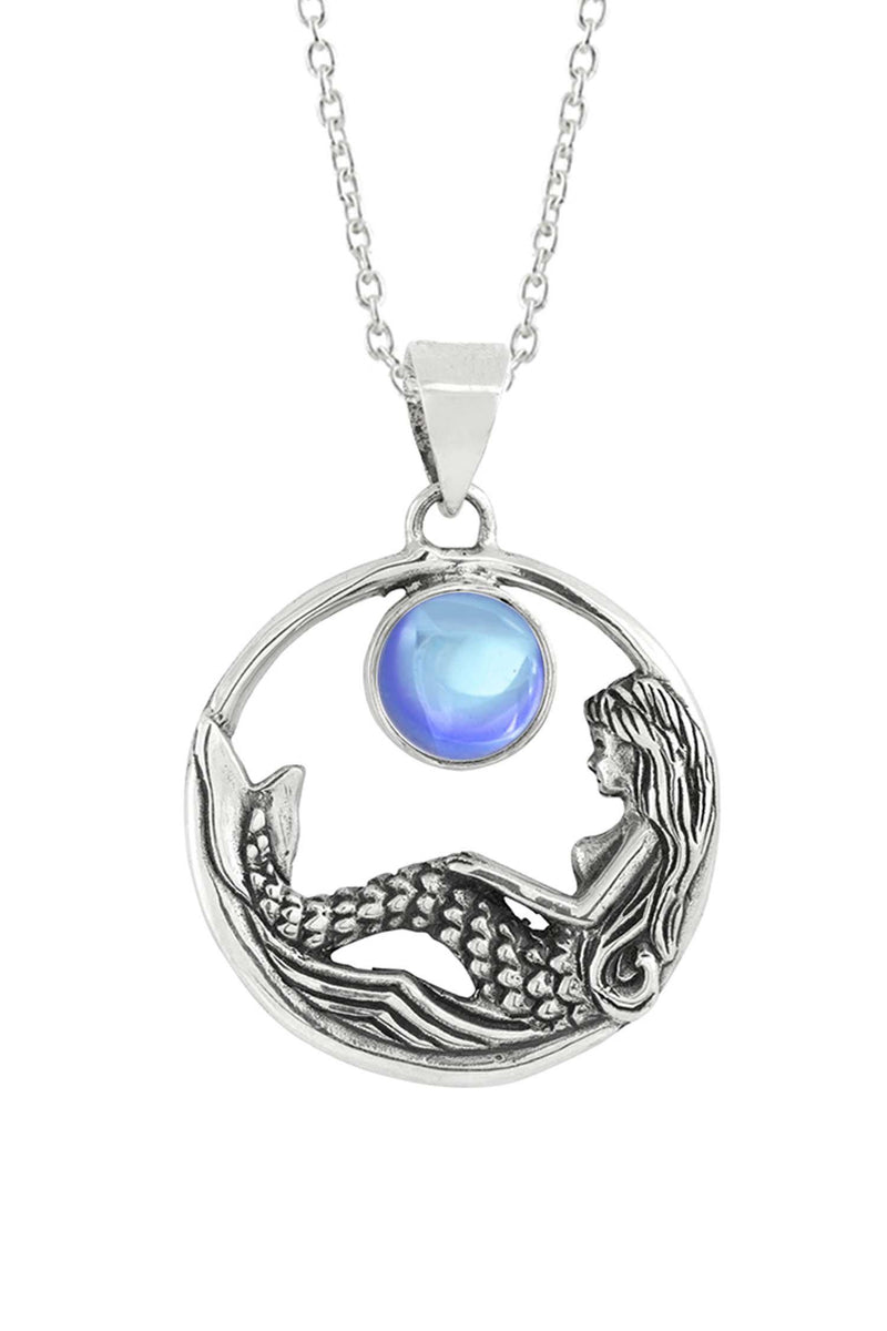 Sterling Silver-Mermaid Pendant-Necklace Charm-Blue-Frosted-Leightworks