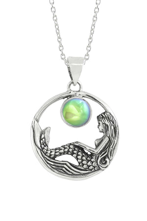 Sterling Silver-Mermaid Pendant-Necklace Charm-Green-Polished-Leightworks