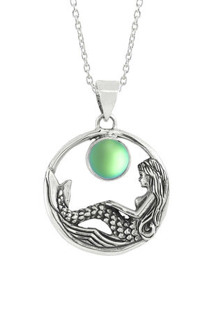 Sterling Silver-Mermaid Pendant-Necklace Charm-Green-Frosted-Leightworks
