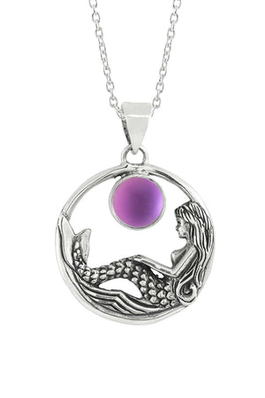 Sterling Silver-Mermaid Pendant-Necklace Charm-Pink-Frosted-Leightworks
