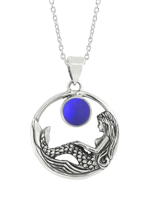 Sterling Silver-Mermaid Pendant-Necklace Charm-Violet-Frosted-Leightworks