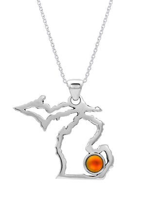 Sterling Silver-Michigan Pendant-Necklace Charm-Frosted-Fire-Leightworks