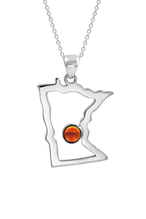 Sterling Silver-Minnesota Pendant-Pendant-Polished-crystal-by Leightworks
