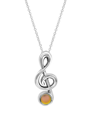 Sterling Silver-Musical Note-Necklace Charm-Frosted-Fire-Leightworks