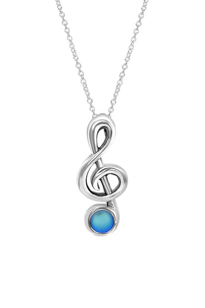 Sterling Silver-Musical Note-Necklace Charm-Frosted-Blue-Leightworks
