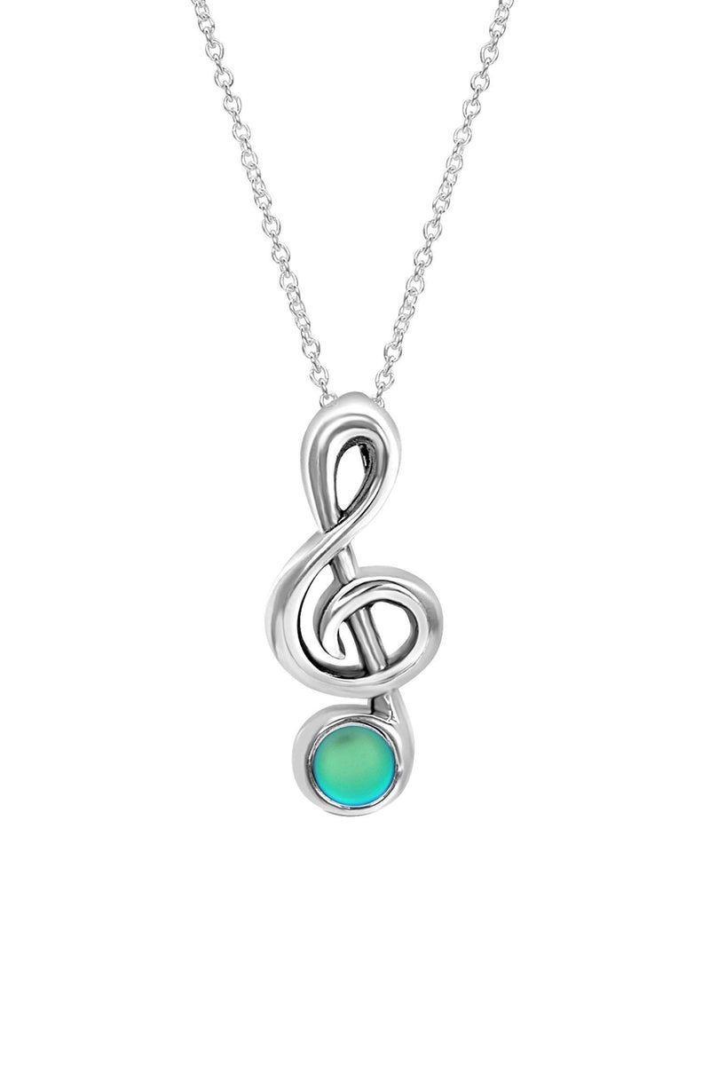 Sterling Silver-Musical Note-Necklace Charm-Frosted-Green-Leightworks