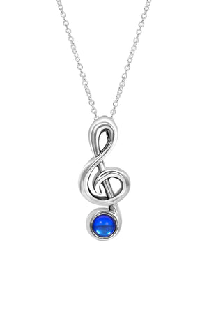Sterling Silver-Musical Note-Necklace Charm-Polished-Blue-Leightworks