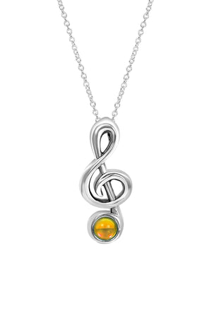 Sterling Silver-Musical Note-Necklace Charm-Polished-Fire-Leightworks