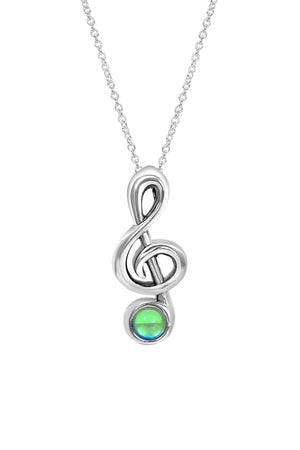 Sterling Silver-Musical Note-Necklace Charm-Polished-Green-Leightworks