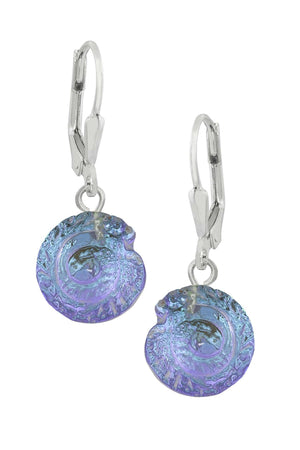 Sterling Silver-Nautilus Earrings-Blue-Polished-Leightworks