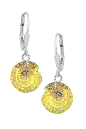 Sterling Silver-Nautilus Earrings-Fire-Polished-Leightworks