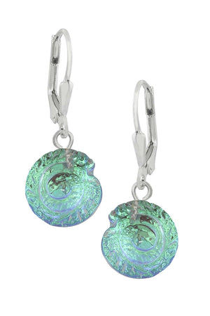 Sterling Silver-Nautilus Earrings-Green-Polished-Leightworks