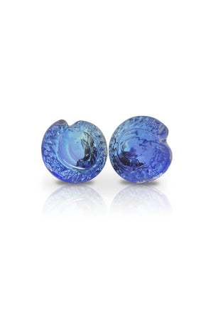 Sterling Silver-Nautilus Stud Earrings-Blue-Polished-Leightworks