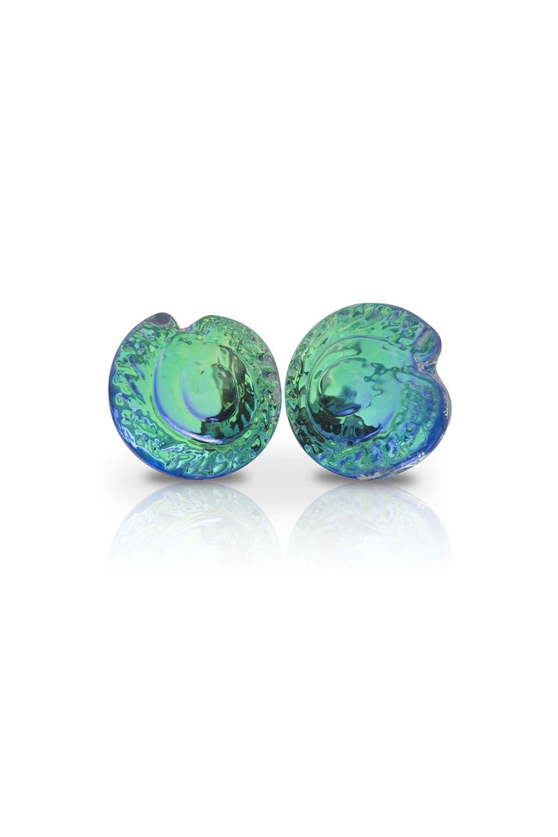 Sterling Silver-Nautilus Stud Earrings-Green-Polished-Leightworks