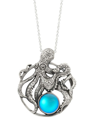 Sterling Silver-Octopus Pendant-Necklace Charm-Aqua-Frosted-Leightworks