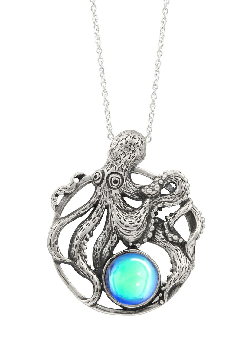 Sterling Silver-Octopus Pendant-Necklace Charm-Aqua-Polished-Leightworks