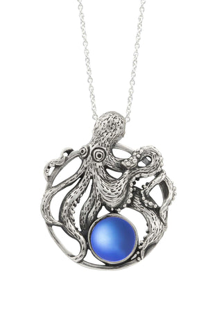 Sterling Silver-Octopus Pendant-Necklace Charm-Blue-Frosted-Leightworks