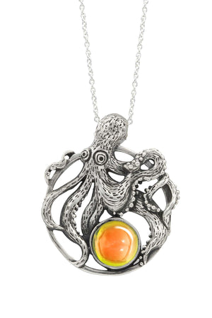 Sterling Silver-Octopus Pendant-Necklace Charm-Fire-Polished-Leightworks