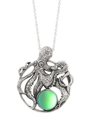 Sterling Silver-Octopus Pendant-Necklace Charm-Green-Frosted-Leightworks