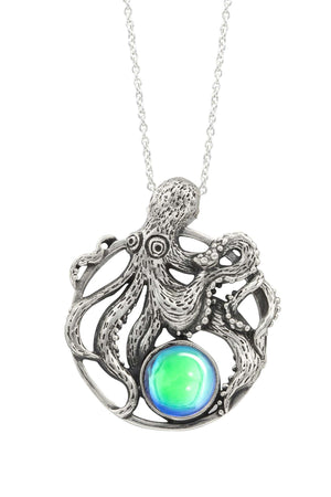 Sterling Silver-Octopus Pendant-Necklace Charm-Green-Polished-Leightworks