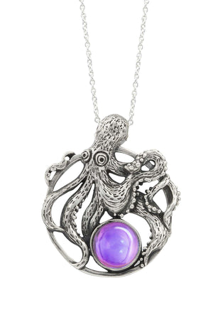Sterling Silver-Octopus Pendant-Necklace Charm-Pink-Polished-Leightworks