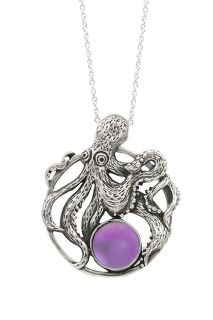 Sterling Silver-Octopus Pendant-Necklace Charm-Pink-Frosted-Leightworks