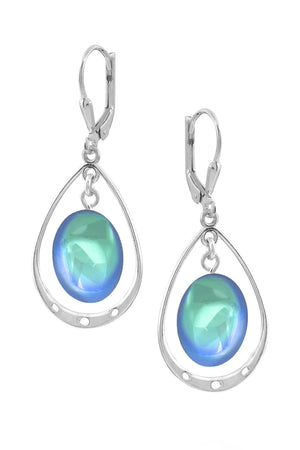 Sterling Silver-Oval w Loop Earrings-Aqua-Polished-Leightworks