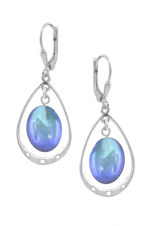 Sterling Silver-Oval w Loop Earrings-Blue-Polished-Leightworks
