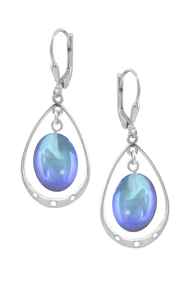 Sterling Silver-Oval w Loop Earrings-Blue-Frosted-Leightworks