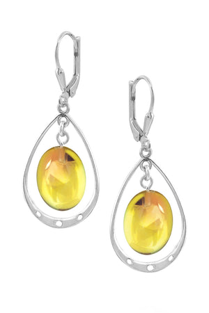 Sterling Silver-Oval w Loop Earrings-Fire-Polished-Leightworks