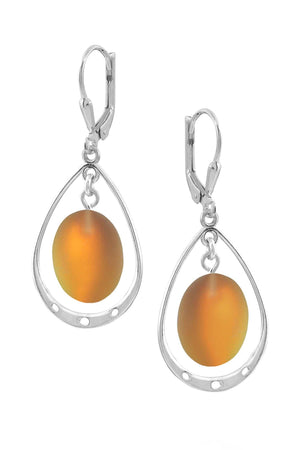 Sterling Silver-Oval w Loop Earrings-Fire-Frosted-Leightworks