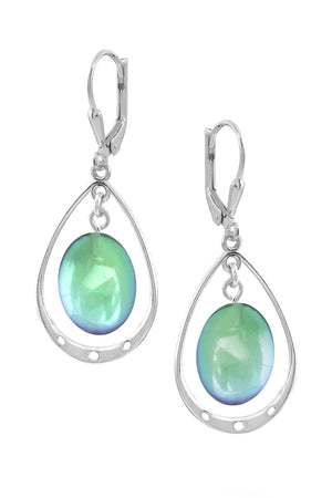 Sterling Silver-Oval w Loop Earrings-Green-Polished-Leightworks