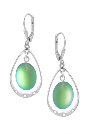 Sterling Silver-Oval w Loop Earrings-Green-Frosted-Leightworks