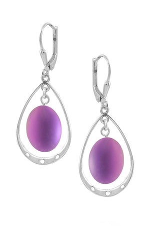 Sterling Silver-Oval w Loop Earrings-Pink-Frosted-Leightworks