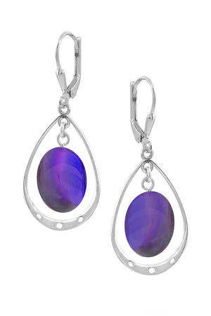 Sterling Silver-Oval w Loop Earrings-Violet-Polished-Leightworks