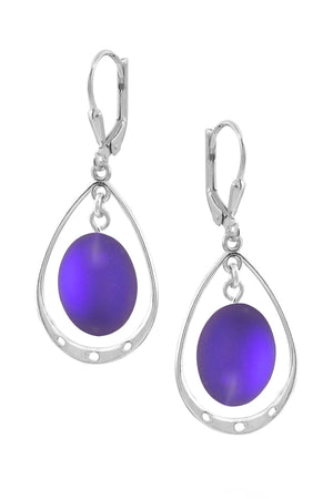 Sterling Silver-Oval w Loop Earrings-Violet-Frosted-Leightworks