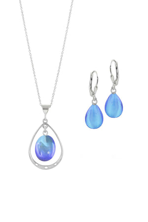Sterling Silver-Oval with Loop Pendant & Drop Earrings-Blue-Polished-Leightworks