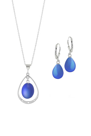 Sterling Silver-Oval with Loop Pendant & Drop Earrings-Blue-Frosted-Leightworks