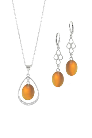 Sterling Silver-Oval with Loop Pendant & Drop Earrings-Leightworks
