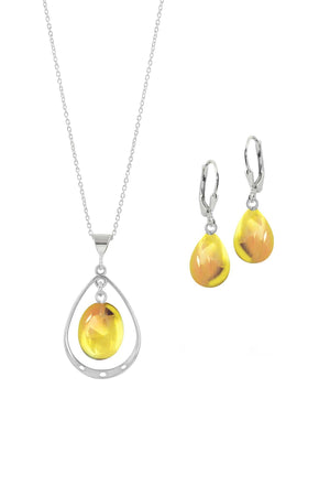 Sterling Silver-Oval with Loop Pendant & Drop Earrings-Fire-Polished-Leightworks