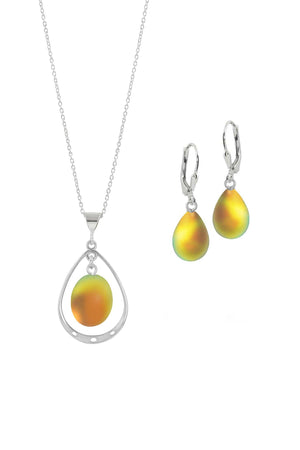 Sterling Silver-Oval with Loop Pendant & Drop Earrings-Fire-Frosted-Leightworks