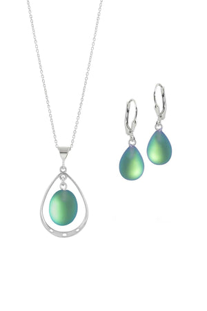 Sterling Silver-Oval with Loop Pendant & Drop Earrings-Green-Frosted-Leightworks